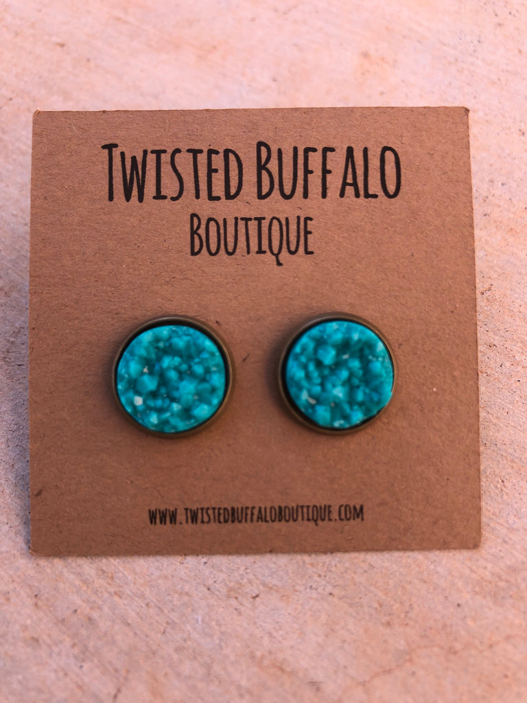 Teally Love You {ROUND} Teal 12mm Druzy Earrings