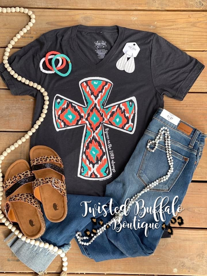 {REJOICE IN THE LORD ALWAYS} Bright Colored Cross Solid Dark Charcoal V-Neck Tee