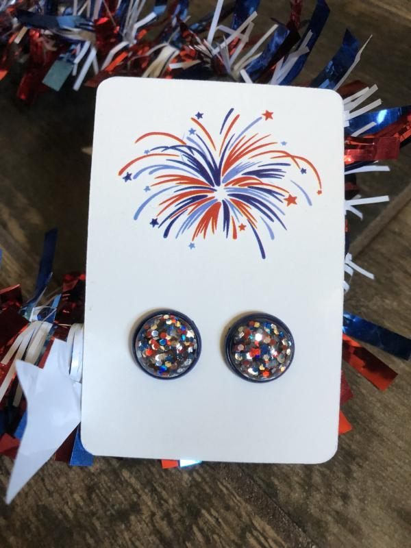Boom Pop SPARKLE Glitter Confetti Patriotic Earrings