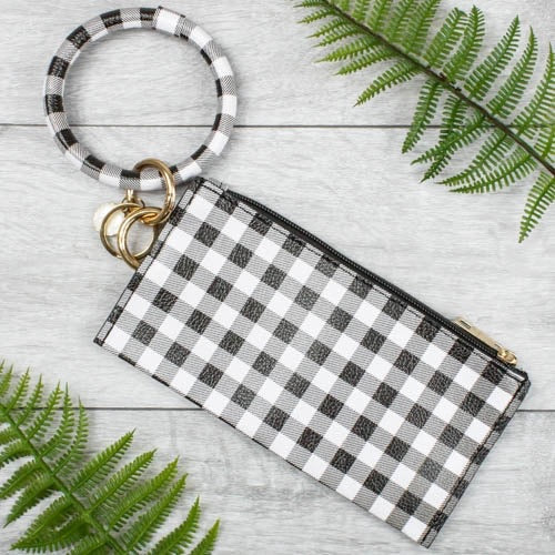 {NICOLE} WHITE + BLACK PLAID Bangle Keychain With Zipper Wallet