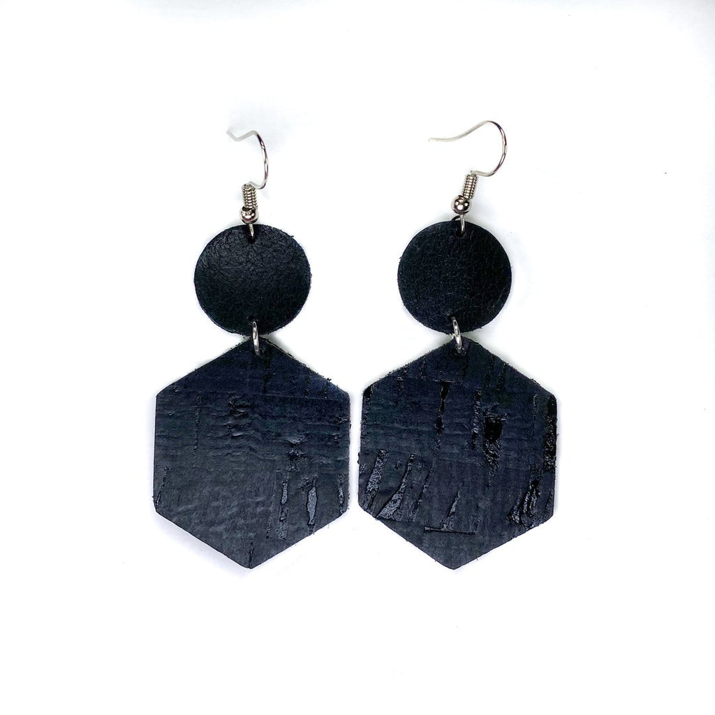 """JETSETTER"" Black Mix + Match Leather Earrings"