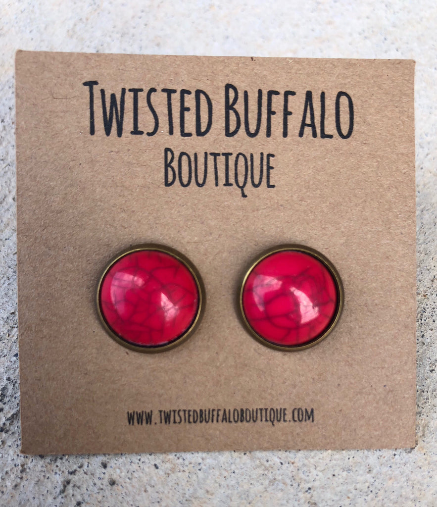 Red Marble Stone in Bronze Setting 12mm Earrings