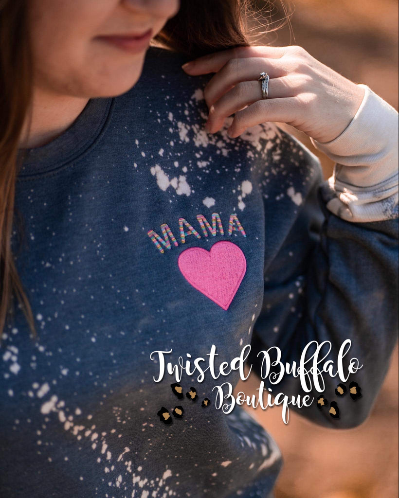 Pre-Order Ships 2/9 {MAMA} Rainbow Embroidery Heather Denim Sweatshirt
