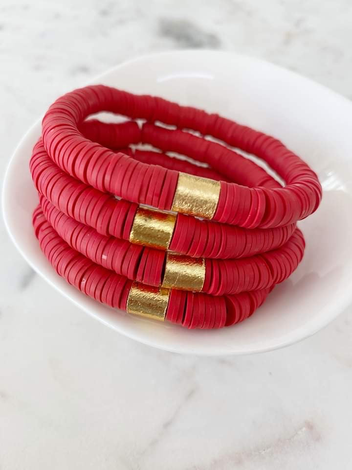 Siam Red {COLOR POP} Heishi Beads Bracelet