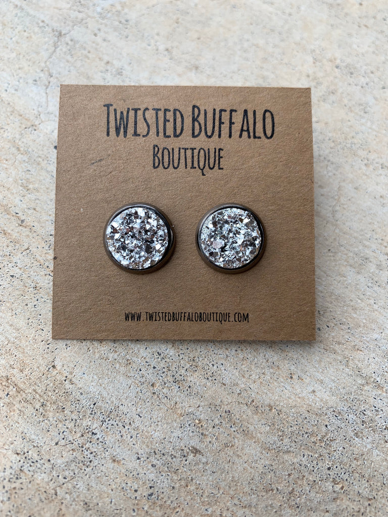 Sinatra {ROUND} Metallic Silver 12mm Druzy Earrings
