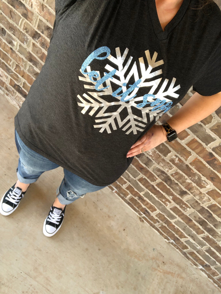Let It Snow Glitter & Silver Foil {SNOWFLAKE} Char-Black V-Neck Tee