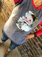 {JOLLY OLD ST. NICK} Vintage Holly + Jolly LEOPARD Santa Raglan Tee
