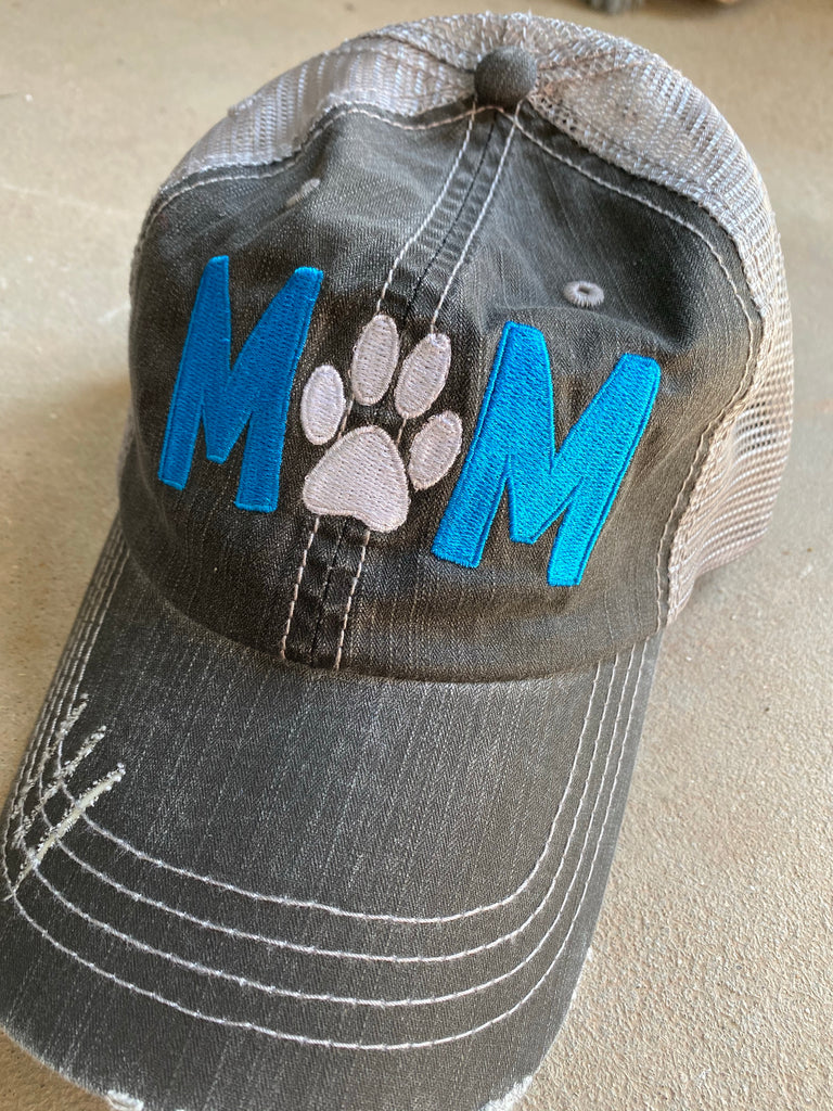 {PET MOM} Embroidered Distressed Trucker Hat/Cap