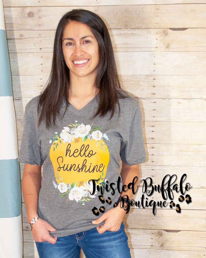 {HELLO SUNSHINE} Yellow Floral Gray V-Neck Tee