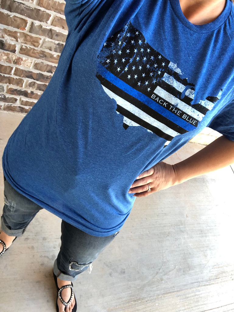 Back the Blue Royal Blue Crew Neck Tee