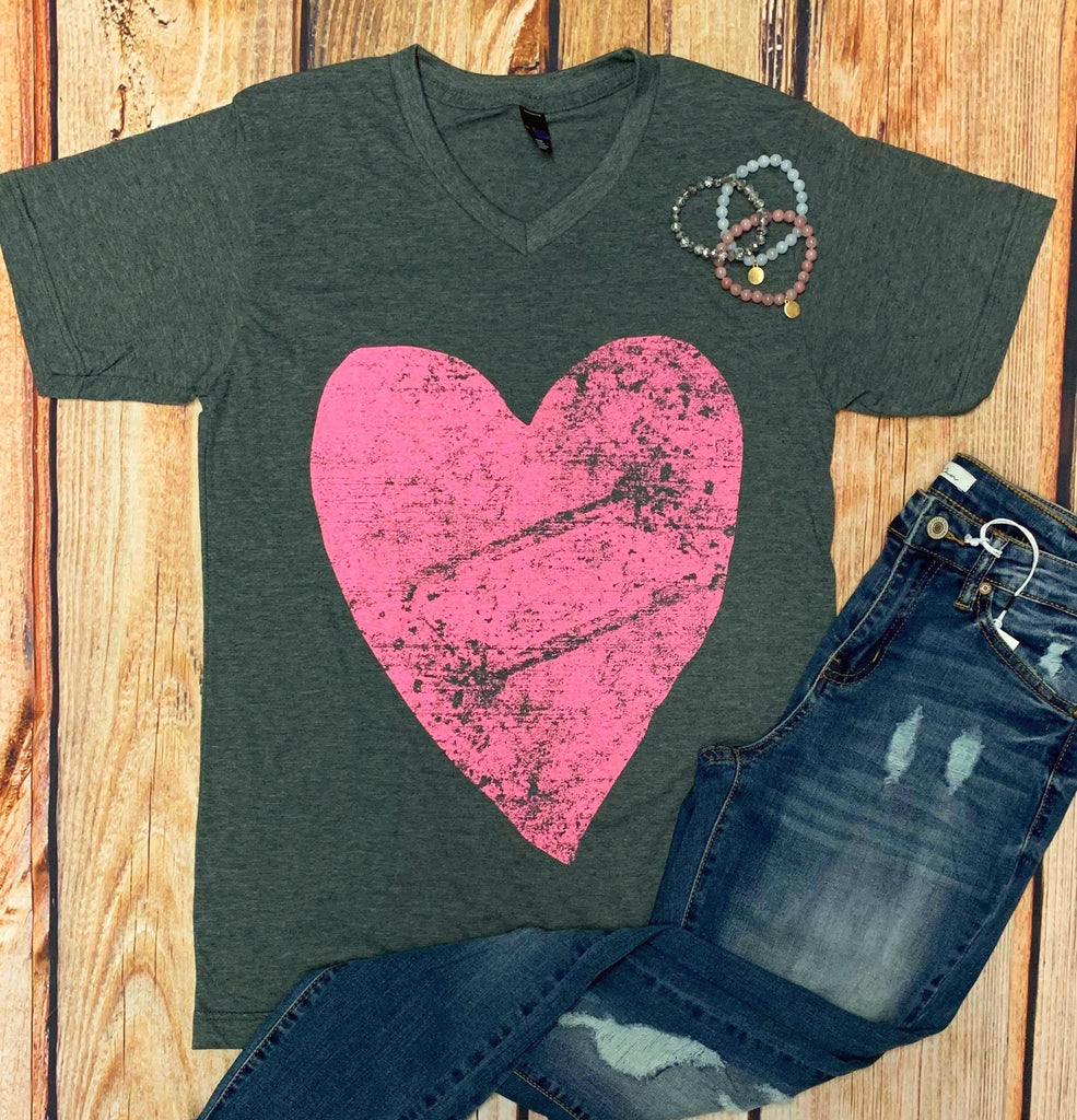 Twisted Tee $20 Tee:  Forever LOVE Distressed Heart Charcoal V-Neck Tee {Pre-Order:  Ships in 2-3 Weeks}