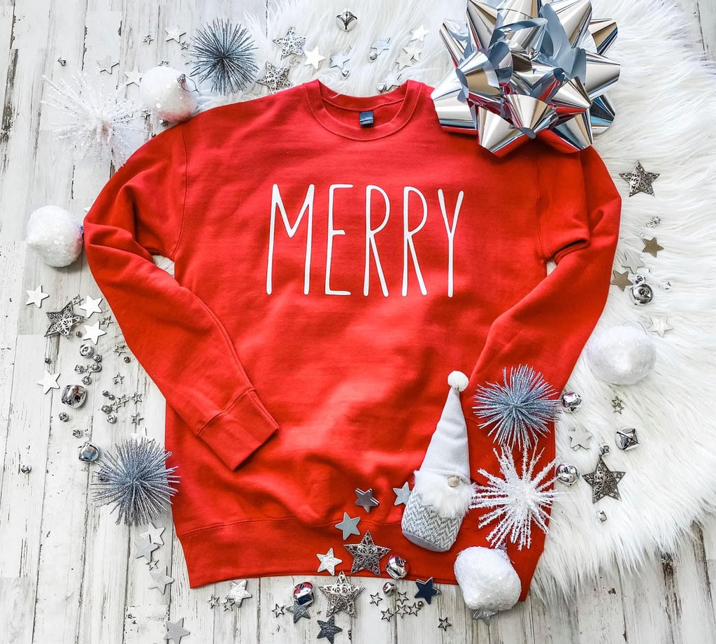 {MERRY} Super Soft Christmas Red Sweatshirt