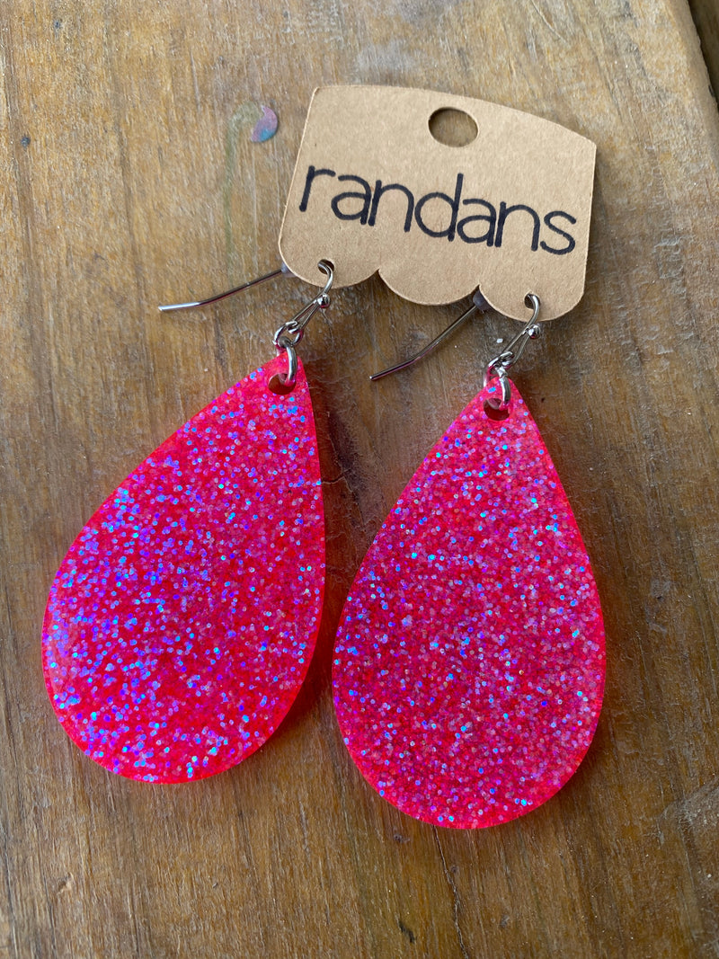 """Back to the '80s"" Neon Pink Glitter Handcrafted Resin Earrings"
