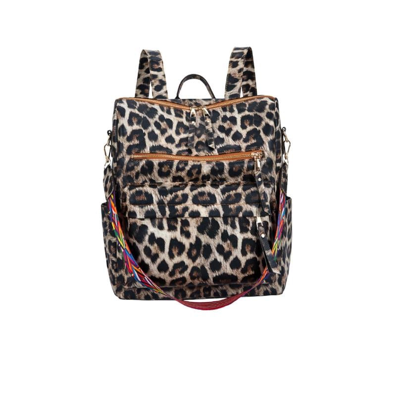 {KINGSTON} Leopard Convertible Backpack Purse