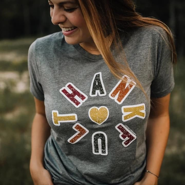 {FROM THE HEART} Thankful Fall Vibes Heart Gray Crew Neck