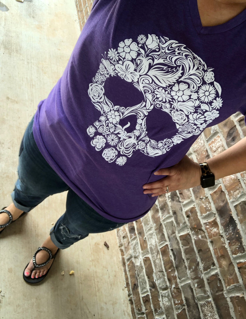 Sugar Skull Purplicious Purple V-Neck Tee