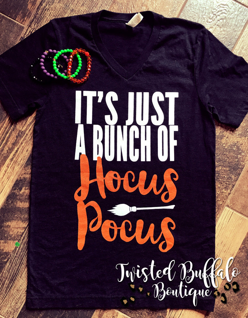 {IT'S JUST A BUNCH OF HOCUS POCUS} Charcoal Black V-Neck Tee