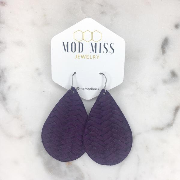 """Eggplant"" Purple Fishtail Braided Chunky Leather Teardrop Earrings"