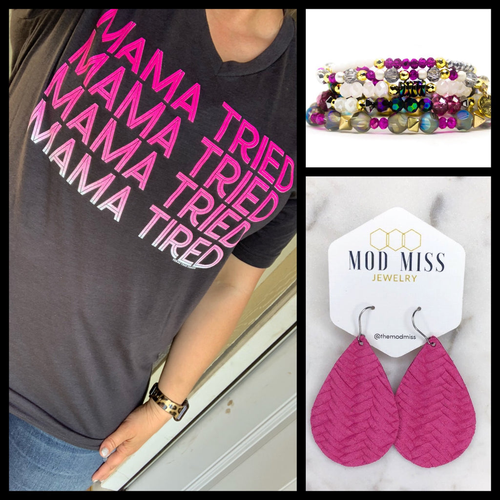 {MAMA TRIED.... TIRED} Solid Char-Black V-Neck Tee