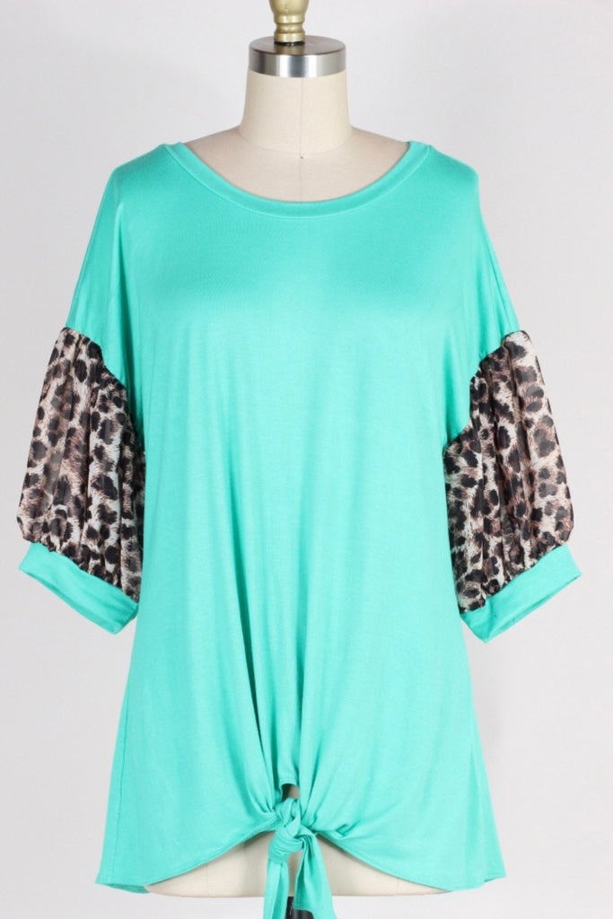 {ROSITA} Mint Knotted Hem LEOPARD Print Sleeve Loose Fit Tunic Top