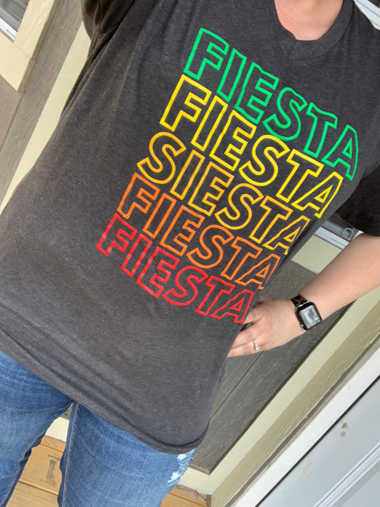 {FIESTA FIESTA SIESTA} Colorful Graphite Black V-Neck Tee