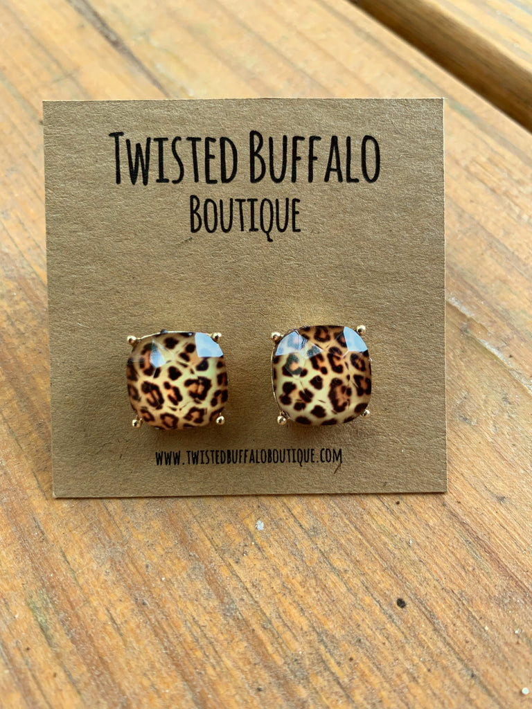 Can't Tame Me {LEOPARD} Stud Earrings