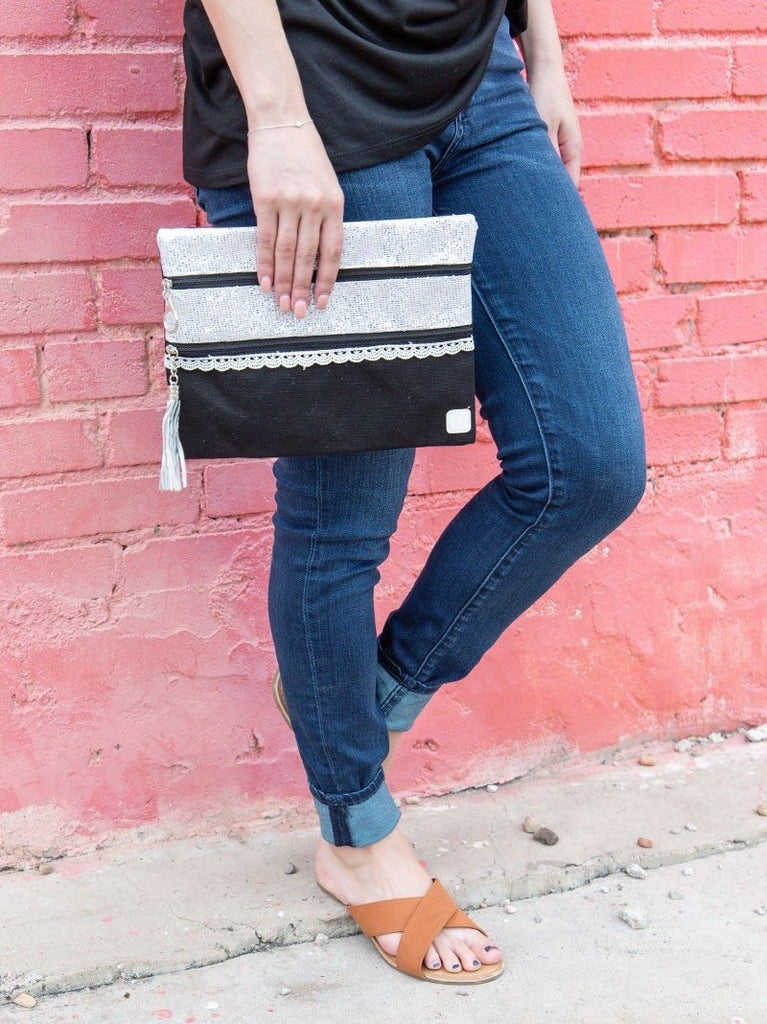 {STILETTO} Black + Silver Double Zipper Bag