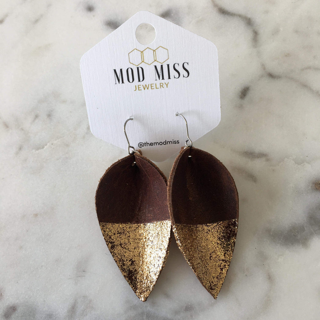 {RAINE} Gold Dipped Aged Brandy Leather Petal Earrings