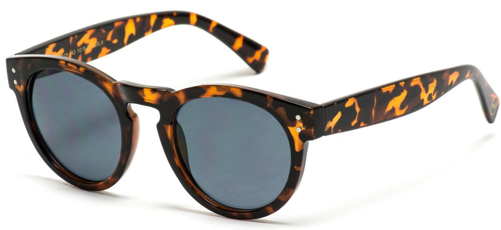 {DALLAS} Leopard Frame/Black Lenses Round  Frame Mirror Lens Sunglasses