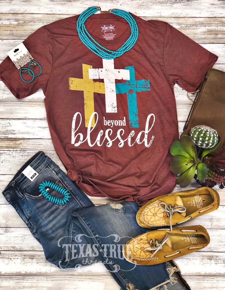 {BEYOND BLESSED} Triple Crosses Clay V-Neck Tee