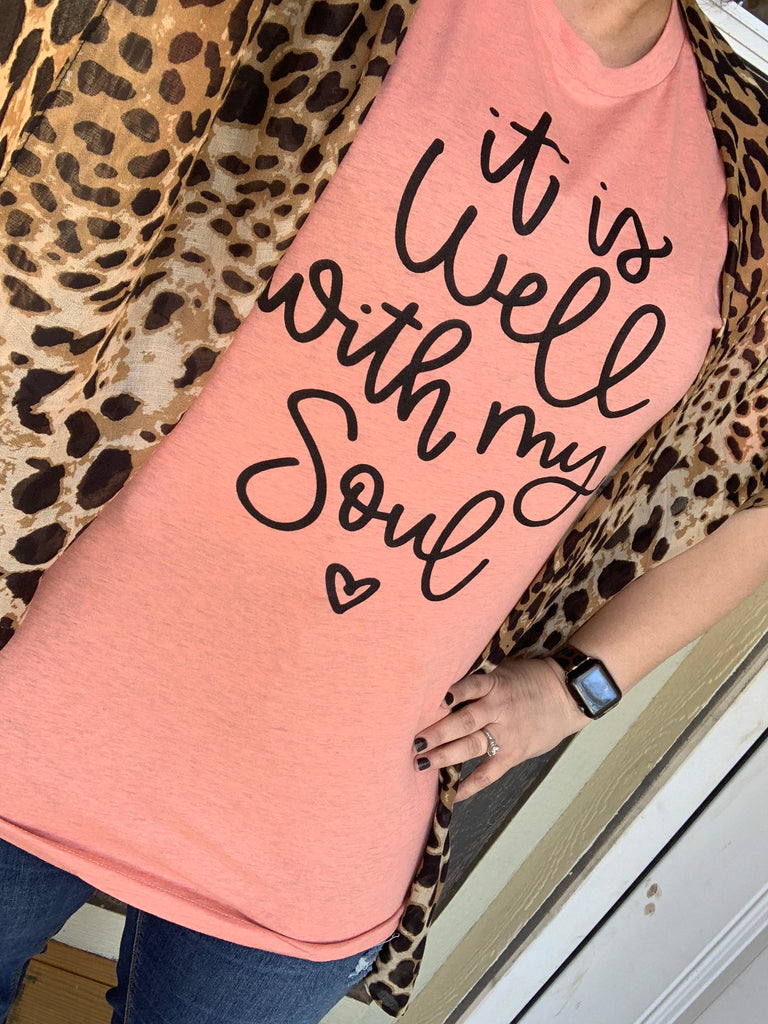{IT IS WELL WITH MY SOUL} Heather Prism Sunset Crew Neck Tee
