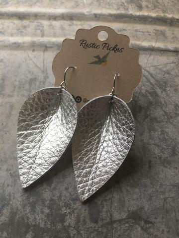 """Jasmine"" Metallic Silver Leather ""Jo"" Petal Earrings"