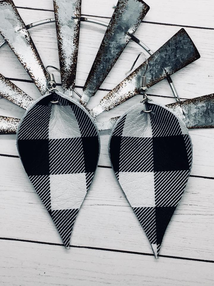 """Farmhouse""  Black + White Buffalo Plaid Leather ""Jo"" Petal Earrings"