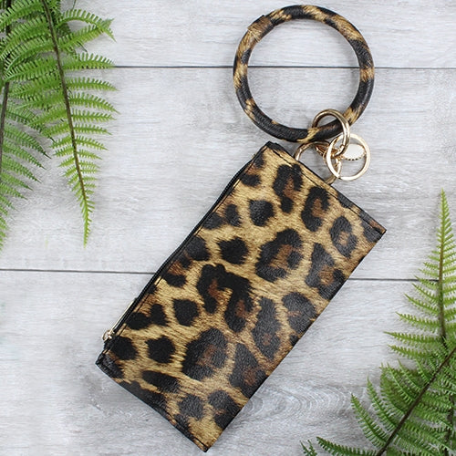 {COOPER} LEOPARD Bangle Keychain With Zipper Wallet