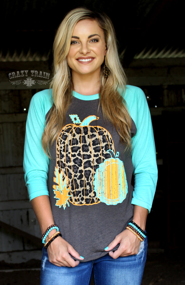 Leaves of Leopard Fall Pumpkin Raglan