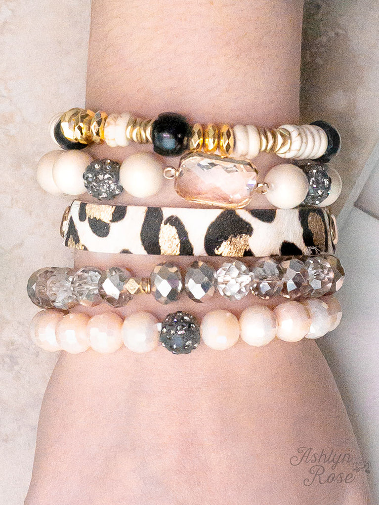 {CHANTILLY} Cream + Leopard Stacked Bracelet Set
