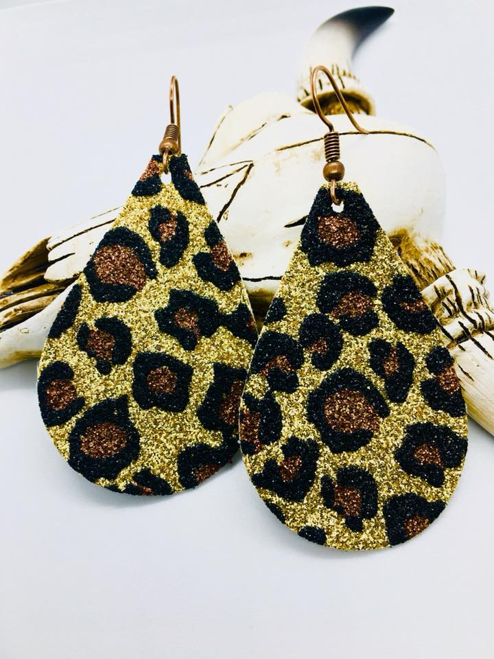 """On the Hunt"" Leopard Glitter Teardrop Earrings"