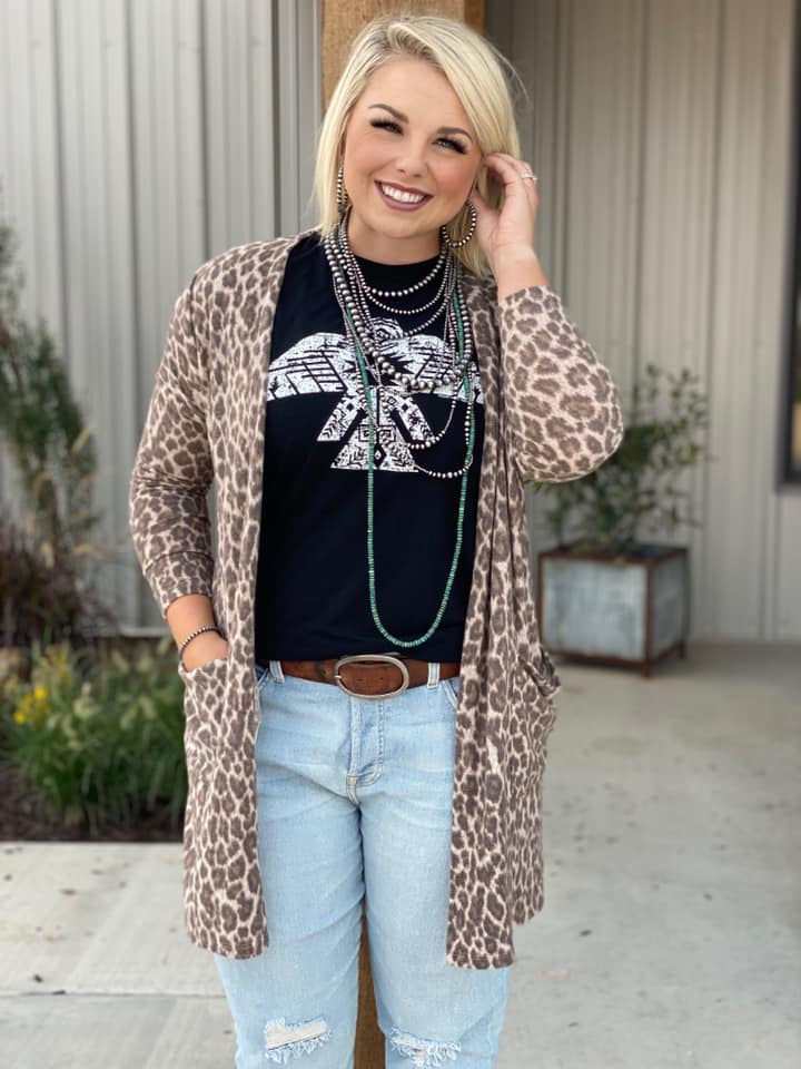 {LEHI} Fuzzy LEOPARD Cardigan with Pockets