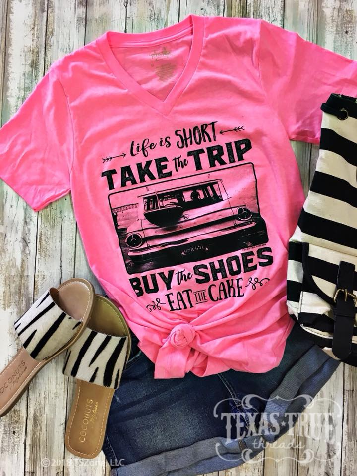 {LIFE IS SHORT} Neon Pink V-Neck Tee