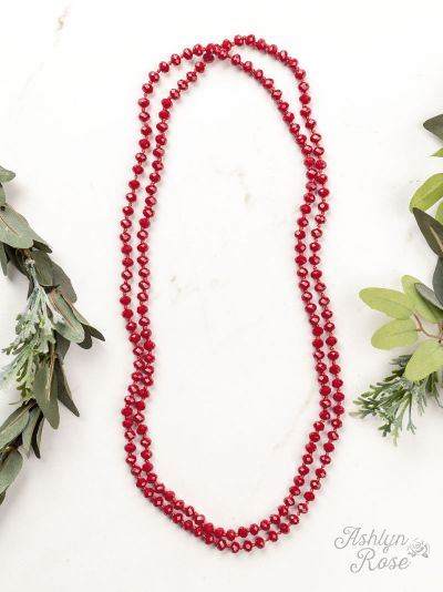 "{LIPSTICK} Red Double Wrap Beaded 60"" Necklace"