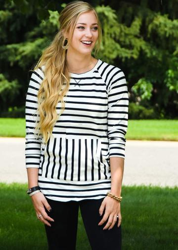 """Livvy"" Black + White Stripe French Terry Sweatshirt Top"