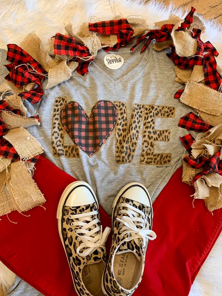 {LOVE IN THE FIRST DEGREE} Vintage Leopard + Plaid Heart Gray V-Neck Tee