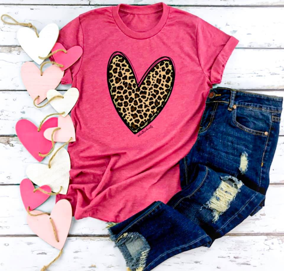 Pre-Order: Ships 1/28 {LOVE YOU BERRY MUCH} Leopard Heart Raspberry Crew Neck Tee