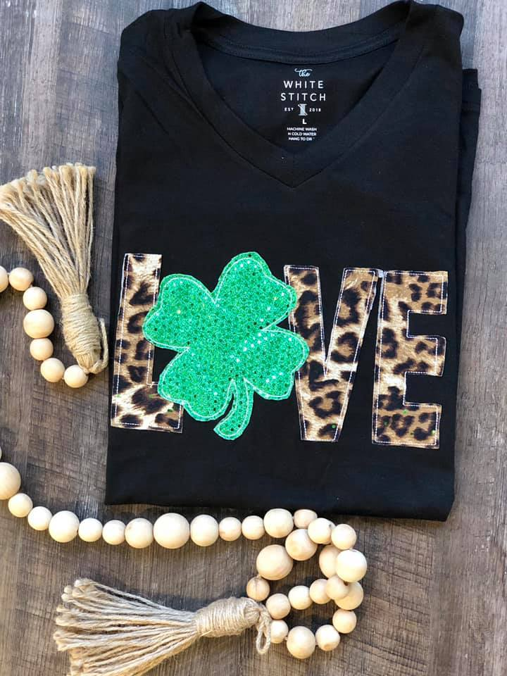 {LOVE + SHAMROCK} Leopard + Green Shamrock Appliquéd Black V-Neck Tee