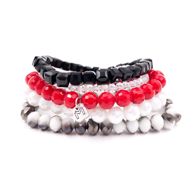 {LUBBOCK} Red, Black + White Bracelet Stack