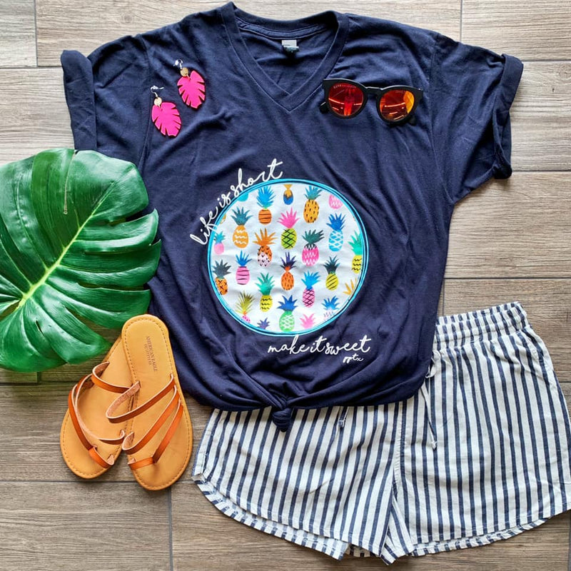 NAVY {MAKE IT SWEET} Colorful Pineapple Navy V-Neck Tee