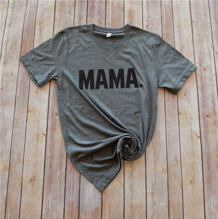 {MAMA LOVE} Black Glitter Gray V-Neck Tee