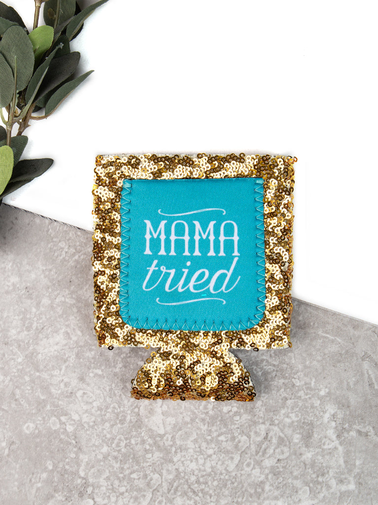 Mama Tried Turquoise + Gold Sequins Can Cooler Koozie