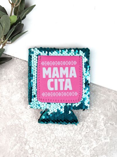 MAMACITA Turquoise Sequins Can Cooler
