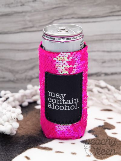 SKINNY May Contain Alcohol PINK SEQUINS Can Cooler